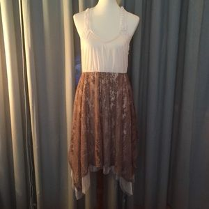 Altar'd State Lace Dress Cream and Brown Size L